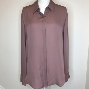 Theory 100% Silk Mauve Button Up Dusty Rose Large
